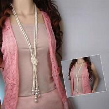 Women's Long Multi-layer Pearl Necklace Pendant Sweater Chain Jewelry Gift US
