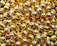 50 Pcs - 8mm Gold Plated Melon Round Spacer Beads Craft Findings Jewellery F152