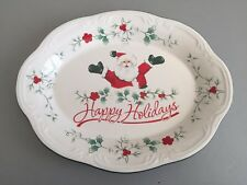 "Pfalzgraff Winterberry Happy Holidays Xmas Santa 11"" Oval Serving Plate Platter"