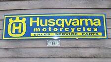 "NEW!! HUSQVARNA MOTORCYCLE DIRTBIKE DEALER/SERVICE SIGN/AD PANEL W""H""/CROWN LOGO"