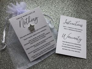 Personalised Gift Of Nothing Card & Gift Bag - Funny Gift & Colour Choice