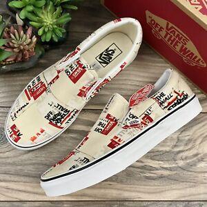 NIB Vans Classic Slip On Sneaker Packing Tape Skate Shoes Cream White Mens 10M