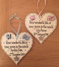 Personalised welcome new baby wooden heart plaque gift boy girl pink blue