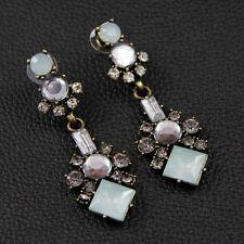 Boucles d'Oreilles Clous Longue Carré Bleu Pale Ancien Style Soirée Cadeau BB 4