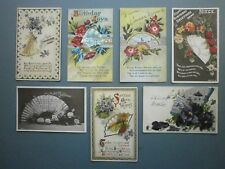 7 X 1910s AND 1920s GREETING POSTCARDS ALL FEATURING FANS