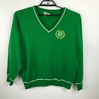Vintage 1970s Mens Sweater Size XL Green V Neck Irish Clover Long Sleeve
