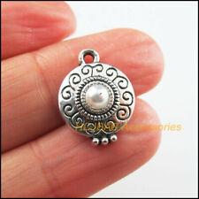 8 New Round Flower Charms Tibetan Silver Tone White Acrylic Pendants 14x18.5mm