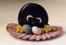 "VINTAGE Miniature Sea Shell Owl Handmade Shells African Sea Bean Souvenir 3.5"""