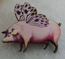 When Pigs Fly Brooch or Scarf Pin Accessories, Jewelry Fasion Wood Pink NEW