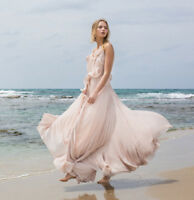 H&M Conscious Exclusive Powder Pink Pleat Long Ruffle Dress Gown UK 14 EU 40