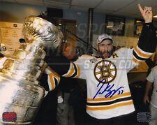 Patrice Bergeron Boston Bruins Signed Stanley Cup Locker Room Celebration 8x10
