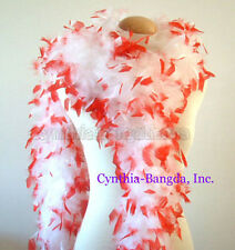 White w/ Red Tips 65 Grams Chandelle Feather Boa Dance Party Halloween Costume