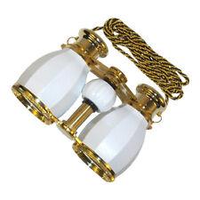 HQRP Prismáticos de estilo antiguo 4 x 30 blanco nacarado con cadena dorada