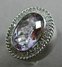14kt White Gold Amethyst & Diamond Oval Ring
