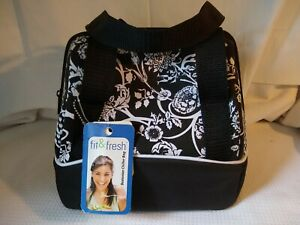 Fit & Fresh Insulated Bag Lunch Box & Containers Black White Floral New w/ Tags