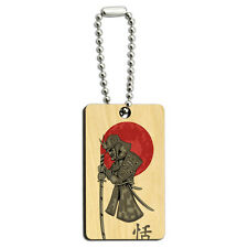 Samurai and Red Moon - Japanese Asian Sword Wood Wooden Rectangle Key Chain