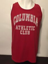 Vintage 1980s Red Columbia Athletic Club Tank Top L Sleeveless Muscle T-Shirt