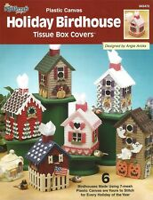 Holiday Birdhouses Tissue Box Covers Plastic Canvas Christmas Halloween Spring