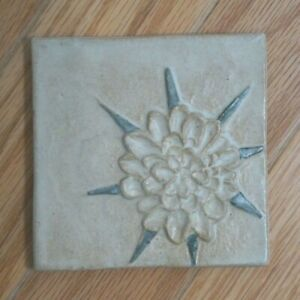 "Stoneware Relief Tile Kuilema Pottery Ceramic 4"" Ivory w Blue Glaze NOS Salsify"