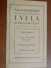 Scheda bibliografica Mondadori I VELA di SALVATOR GOTTA 1946 IL FIGLIO INQUIETO