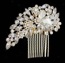 Silver Gold Bridal Bridesmaid Wedding Hair Comb Clip Rhinestone Diamante Prom