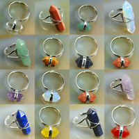 Natural Gemstones Hexagonal Healing Point Reiki Chakra Bead Adjustable Ring Pick