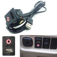 Auto AUX USB Port Socket 3.5mm Plug Adapter USB Charger Audio Earphone Input Kit