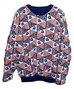 Vintage 80s Chicago Bears 50/50 Blend Reversible AllOver Print Sweatshirt NFL