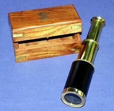 """6 """" Brass Telescope with Walnut Brass Box Storage Power 4x"""