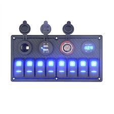 New 12V/24VBlue LED Switch Panel Breaker 8 Gang Car Marine Boat Rocker Voltmeter