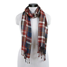 "WESTPORT PLAID BROWN WHITE NAVY RED FRINGED SCARF 20X70"" MEDIUM WEIGHT VISCOSE"