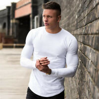 Men's New Sport Fitness Solid Long Sleeve Workout Training Gym T-Shirts Clothes