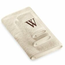 Avanti Premier Brown Block Monogram Bath Towel Letter W in Ivory