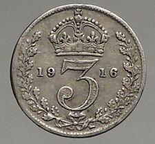 1916 UK Great Britain United Kingdom KING GEORGE V Silver Threepence Coin i56819