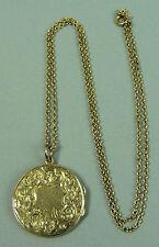 ANTIQUE 9K GOLD LOCKET PENDANT & 20 INCH CHAIN BIRMINGHAM 1913 - 8.8 GRAMS