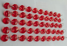 100 14mm OCTAGON Chandelier Crystals Droplets Glass Beads Drops Red 2m Garland