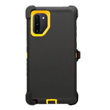 For Samsung Galaxy Note 10+ Plus Black Yellow Defender Case w/Clip fits Otterbox