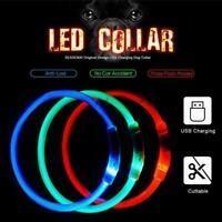 LED Dog Pet Leuchthalsband Einstellbare Größe Blinkend Wiederaufladbar USB P2W5