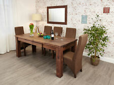 Mayan Solid Walnut Dark Wood Extending Dining Table to Seat 8