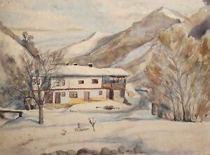 Antique landscape winter watercolor painting signed