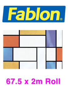 Fablon Self-Adhesive Window Film Stained Glass FAB10520 Mondrian 67.5cm X 2m