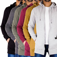 Mens Hoody Long Line Slim Fit Zip Up Jersey Hooded Jacket Tracksuit Sweatshirt