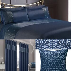 Navy Blue & Silver Foil Panel Geometric Duvet Cover Pillowcase Bedding Set