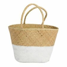 Basket - Painted Seagrass Bag / Basket - Natural and White - Large
