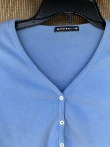 Brandy Melville Women's Button Cotton Crop Top Light Blue Small