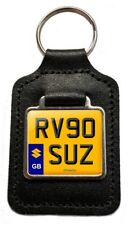 RV90 SUZ Reg Number Plate Leather Keyring Gift for Suzuki RV 90 Rover Parts NOS