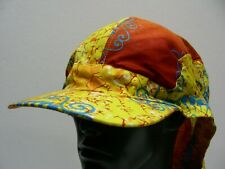 COLORFUL PATTERNED WITH NECK COVER AND FRONT CHIN STRAPS ONE SIZE SUN CAP HAT!