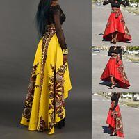 African Women Summer Boho Printed Long Dress Beach Evening Party Maxi Skirt New