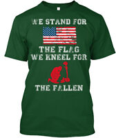 We Stand For Flag Kneel The Fallen Hanes Tagless Tee T-Shirt