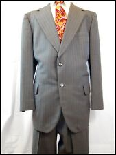 Vintage 60s 70s Keith Courtenay 2-Piece Blue Striped Pure Wool Suit 42 Chest 35W